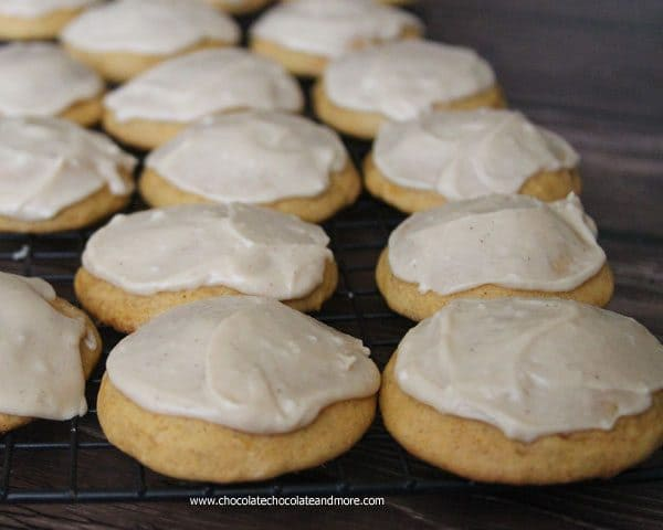 Frosted Pumpkin Cake Cookies by chocolatechocolateandmore.com