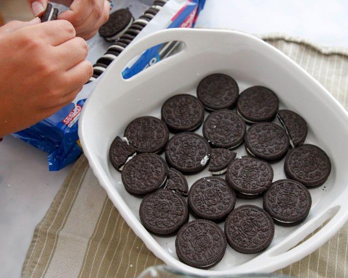 OreoIcebox Cake-it's ok to break some cookies to fill the gaps