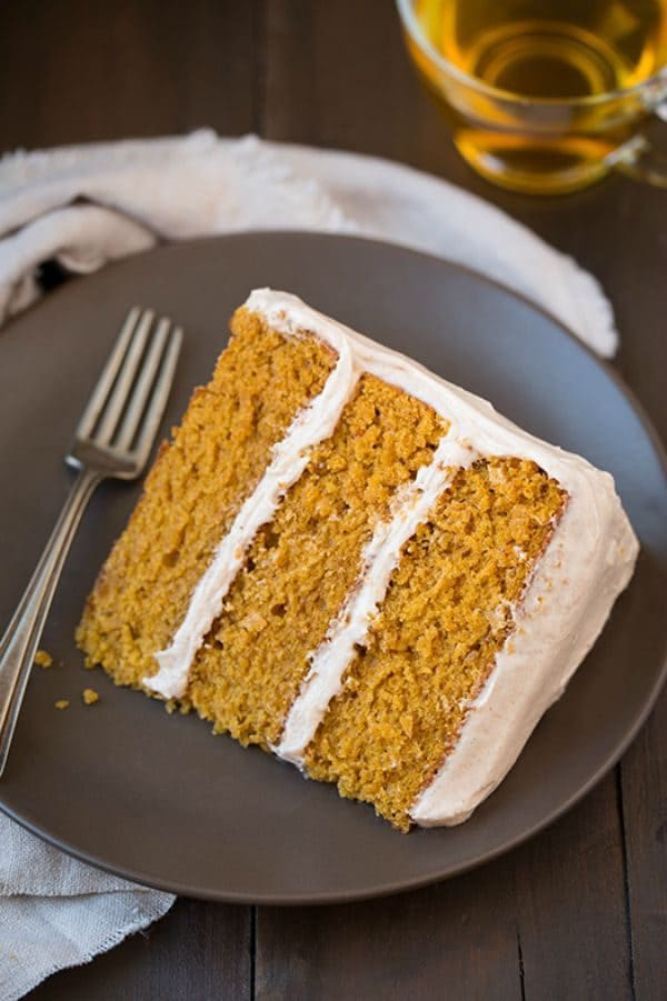 Pumpkin Cake with Cinnamon Cream Cheese Frosting by cookingclassy.com