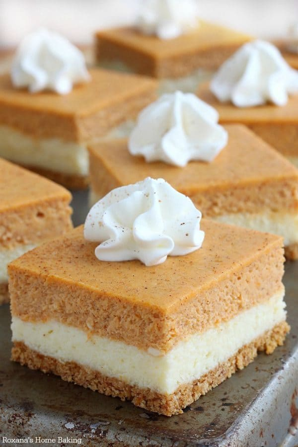 Pumpkin Cheesecake Bars by roxanashomebaking.com