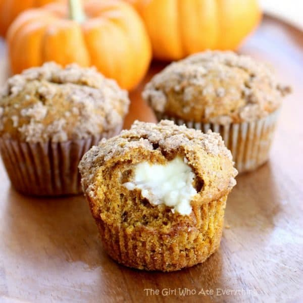 Pumpkin Cream Cheese Muffins by the-girl-who-ate-everything.com