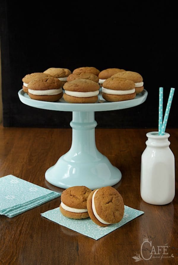 Pumpkin Whoopie Pies with Bourbon Brown Butter Butter Cream by thecafesucrefarine.com