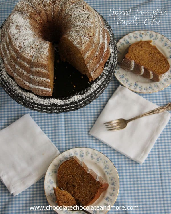 Spiced Pumpkin Bundt Cake by chocolatechocolateandmore.com