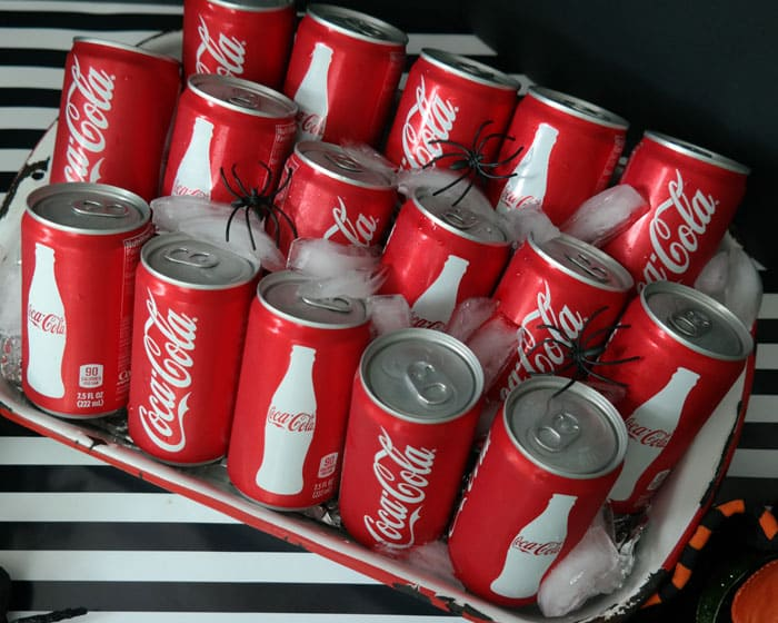Use a 9x13 baking tray to hold cold sodas-straight from the fridge to the table!