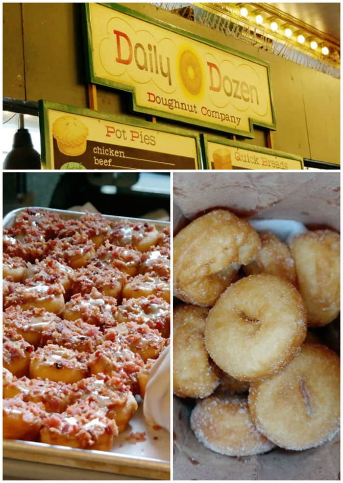Daily Dozen Donut Company in Pikes Market produces mini donuts hot from the oil and covered with cinnamon sugar or try the maple bacon!