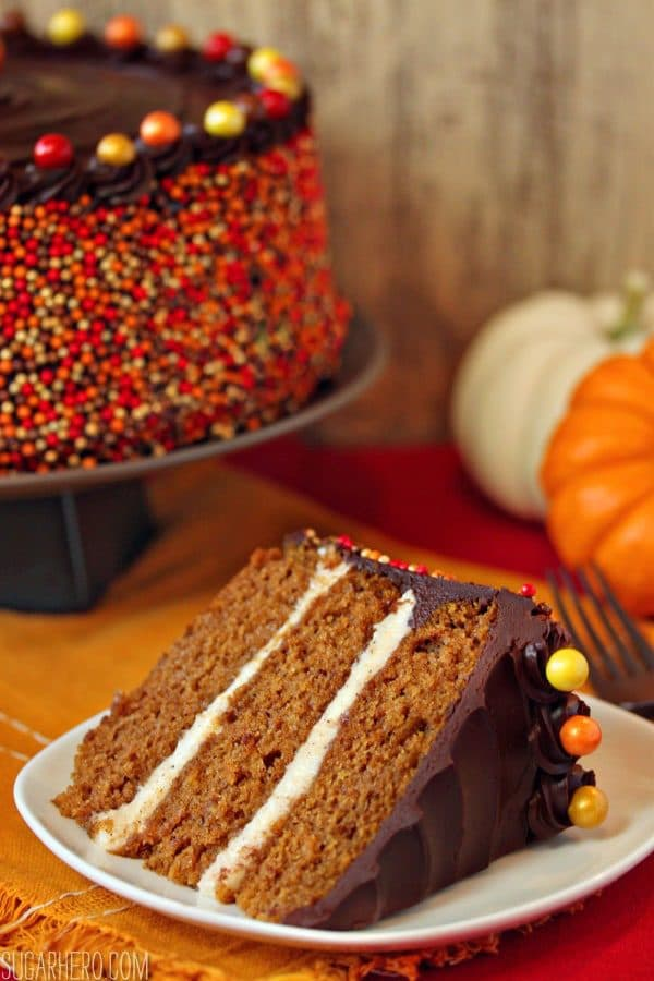 Pumpkin Layer Cake with Brown Butter Filling and Chocolate Sour Cream Frosting by sugarhero.com