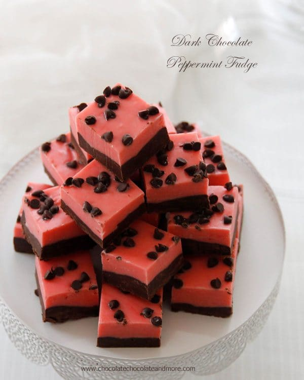 Dark Chocolate Peppermint Fudge by chocolatechocolateandmore.com