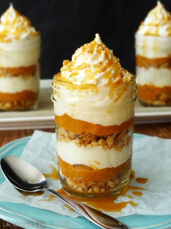 No Bake Pumpkin Pie in a Jar by lifeloveandsugar.com