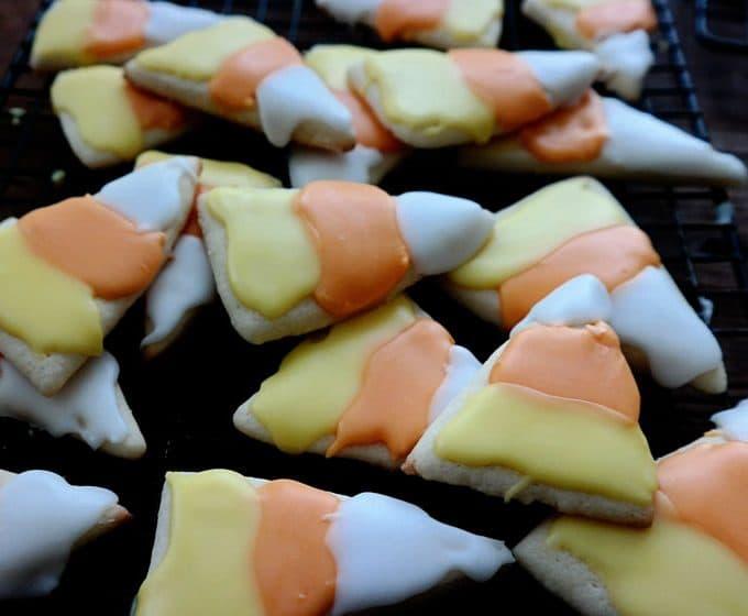 Candy Corn Iced Sugar Cookies