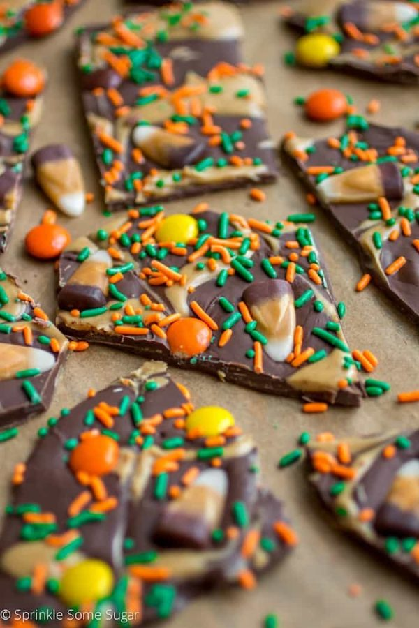 Peanut Butter Candy Corn Bark - a super simple and delicious treat that takes only minutes to prepare!