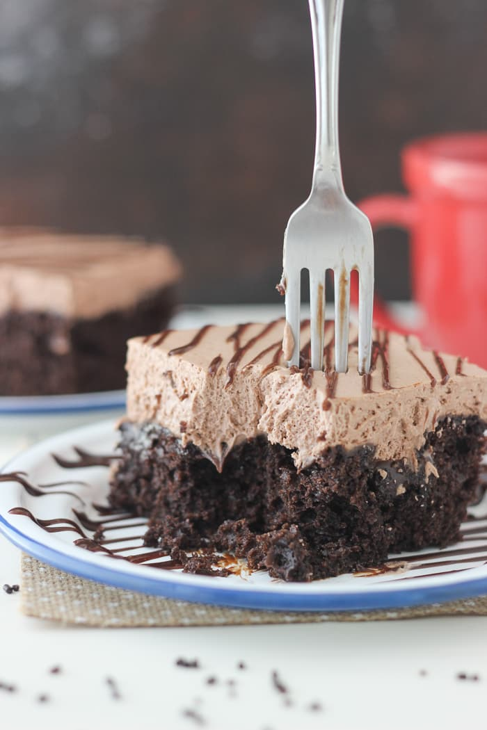 Dig into this Hot Chocolate Poke Cake. You know you want to!