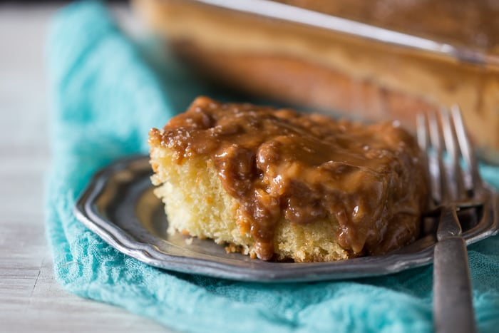 This super simple salted caramel butterscotch poke cake is packed full of flavor and ready in no time. You'll love this semi homemade treat!