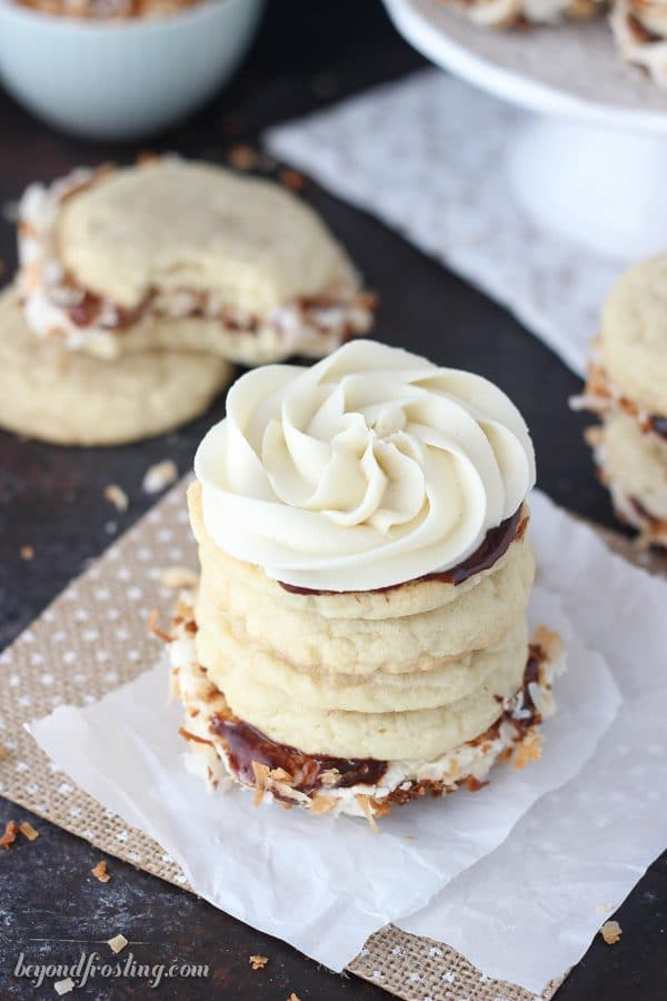 Samoa cookies will never be the same after you've hand one of these Samoa Cookie Sandwiches.