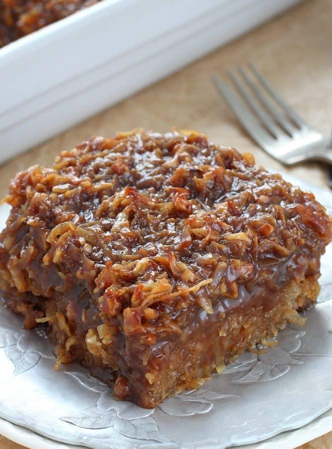 Caramel Coconut Pecan Oatmeal Cake