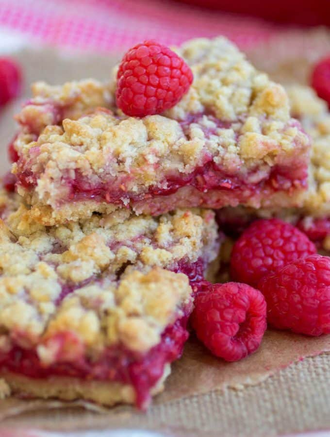 Raspberry Lemon Crumble Bars - A super easy recipe for sweet and tart raspberry lemon crumble bars!