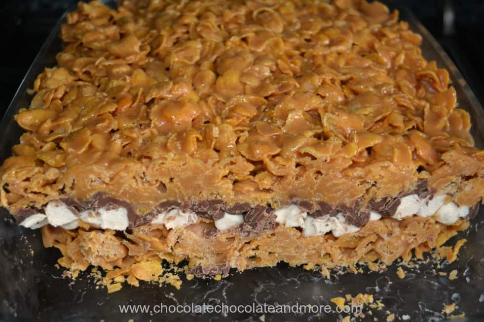Peanut Butter Corn Flake Smores Bars Pan