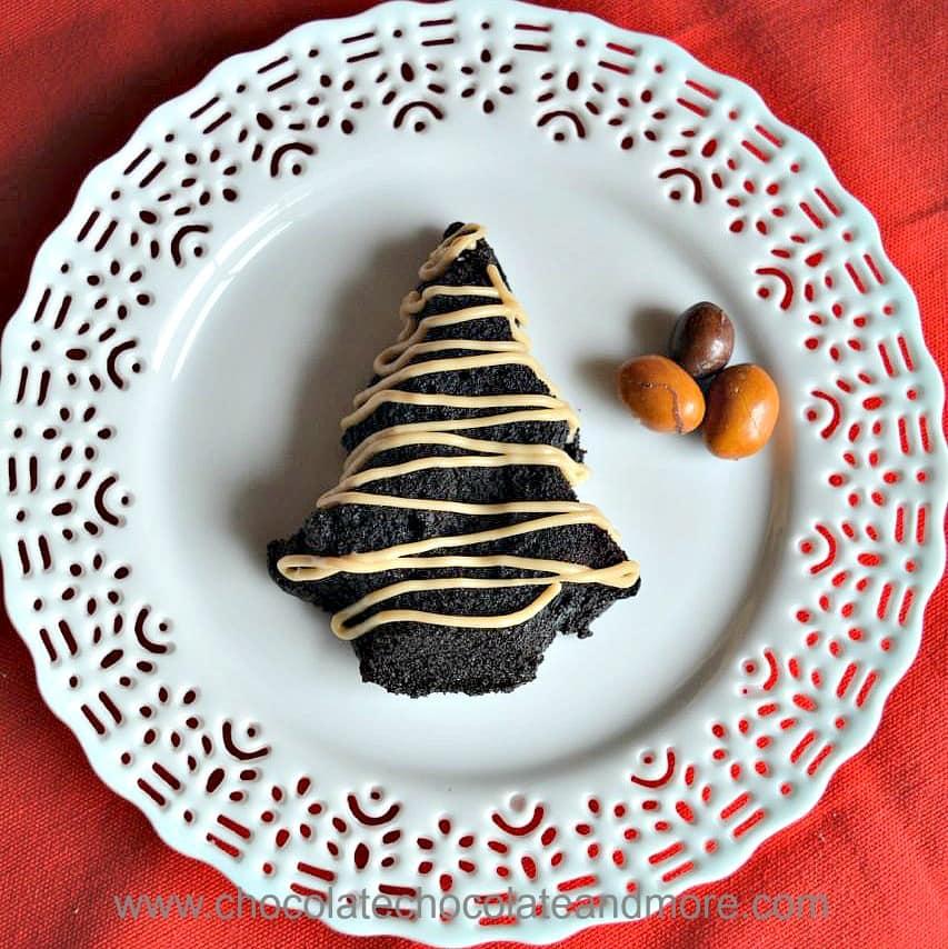 Chocolate Kahlua Christmas Tree Cakes