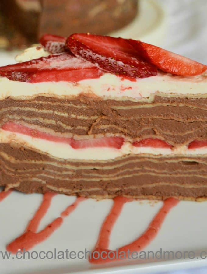 Chocolate Strawberry Crepe Cake