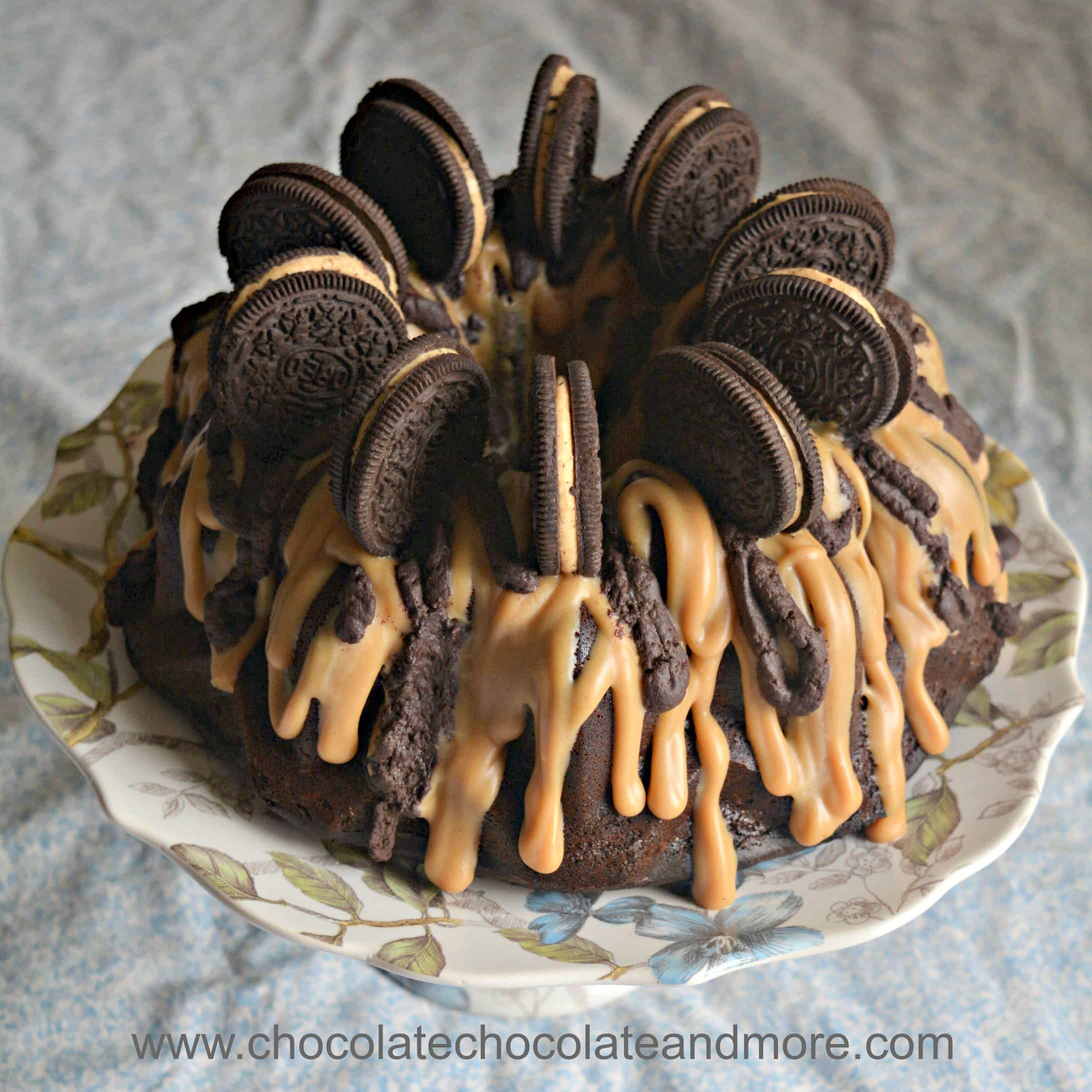 Peanut Butter Cheesecake Filled Chocolate Bundt Cake