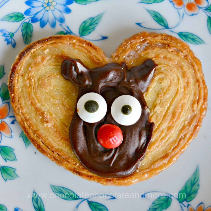 a palmier topped with a chocolate reindeer face