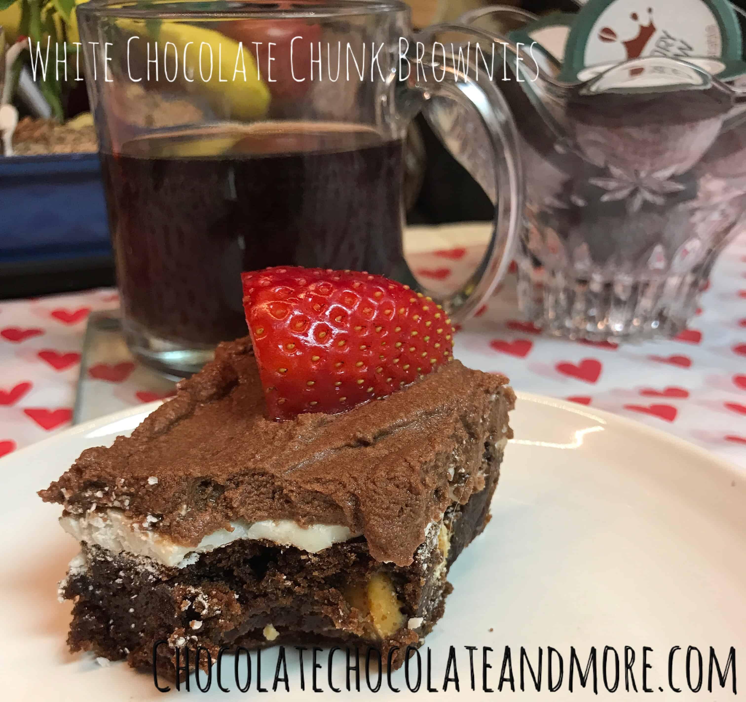 White Chocolate Chunk Brownies with Mocha Icing