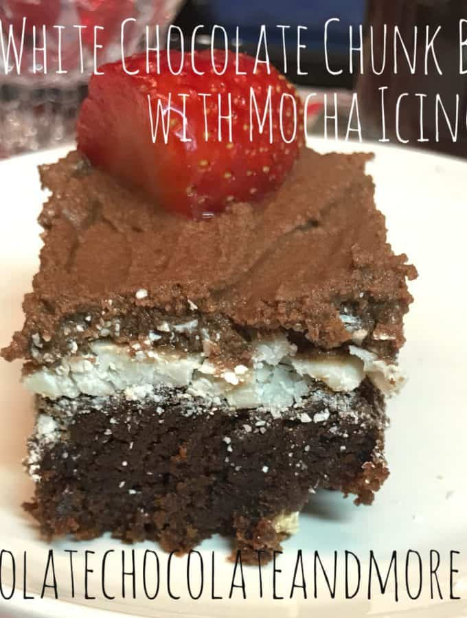 White Chocolate Chunk Brownies with Mocha Icing
