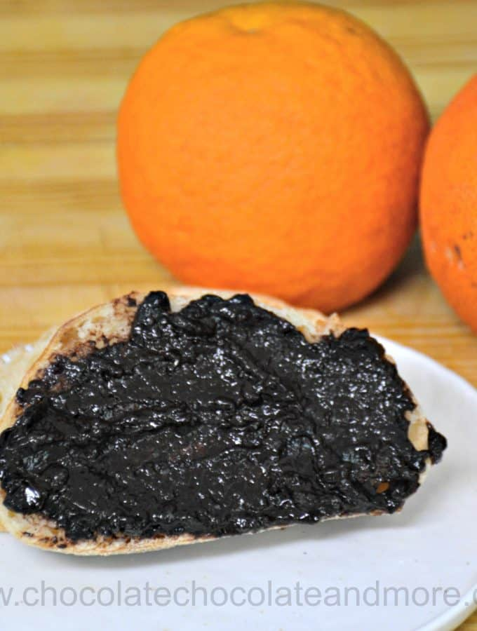 a piece of toast covered with chocolate grapefruit jam