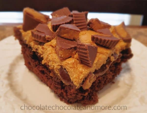 A slice of chocolate cake that is dripping with chocolate and peanut butter frosting and covered in cut up peanut butter cups.
