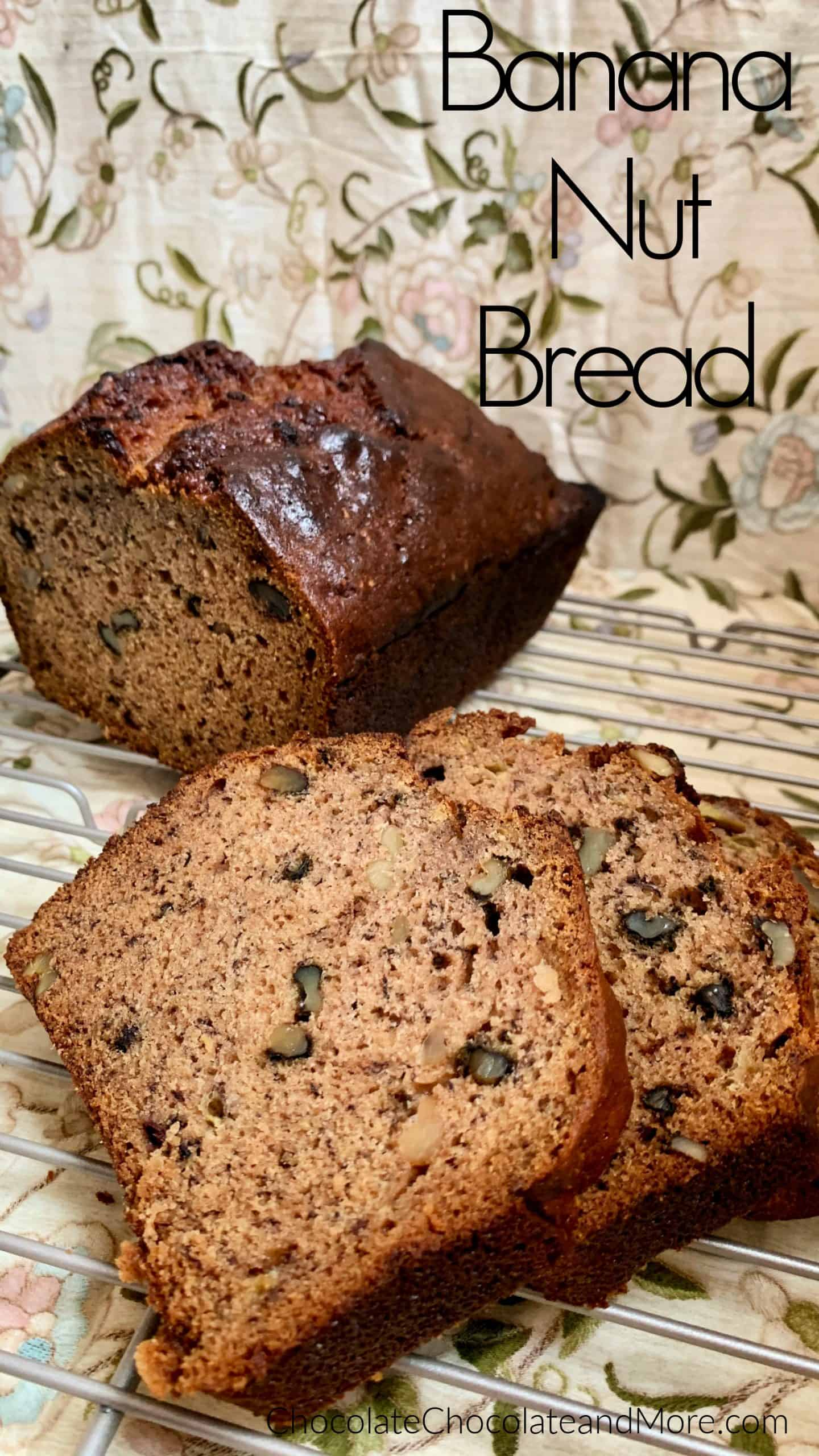This flavorful Banana Nut Bread is sure to leave you wanting more. Its rich banana and cinnamon flavor along with the crunchy nuts is perfect breakfast or even just a quick snack! via @chocolatemore