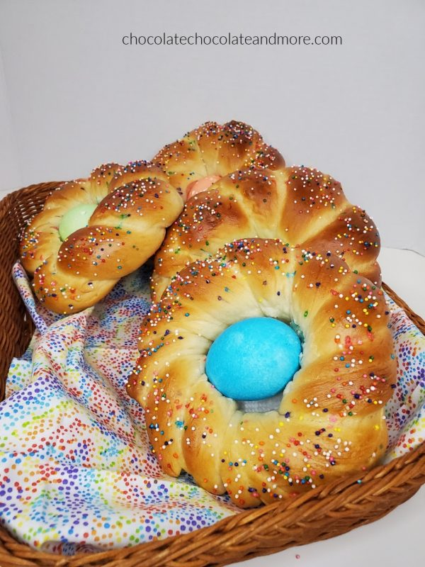 a basket full of colorful Italian Easter bread