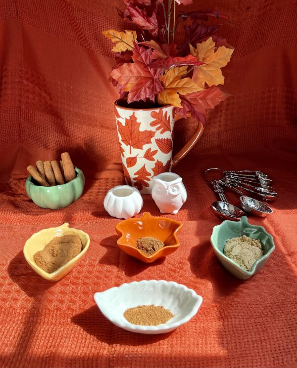 The ingredients put in separate bowls shaped like leaves with a pumpkin shaped bowl filled with cinnamon sticks, a white ceramic pumpkin and owl, a set of teaspoons and tablespoons, and a fall decorated mug holding fall colored leaves.