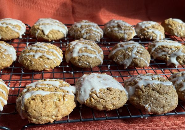 All the Pumpkin Spice Oatmeal Cookies cooling on the cooling rack